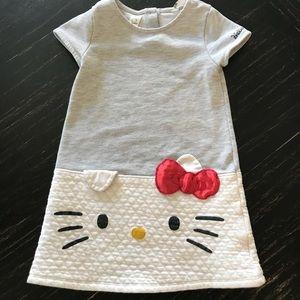 EUC 4-6 yr Hello Kitty Gray & White Dress